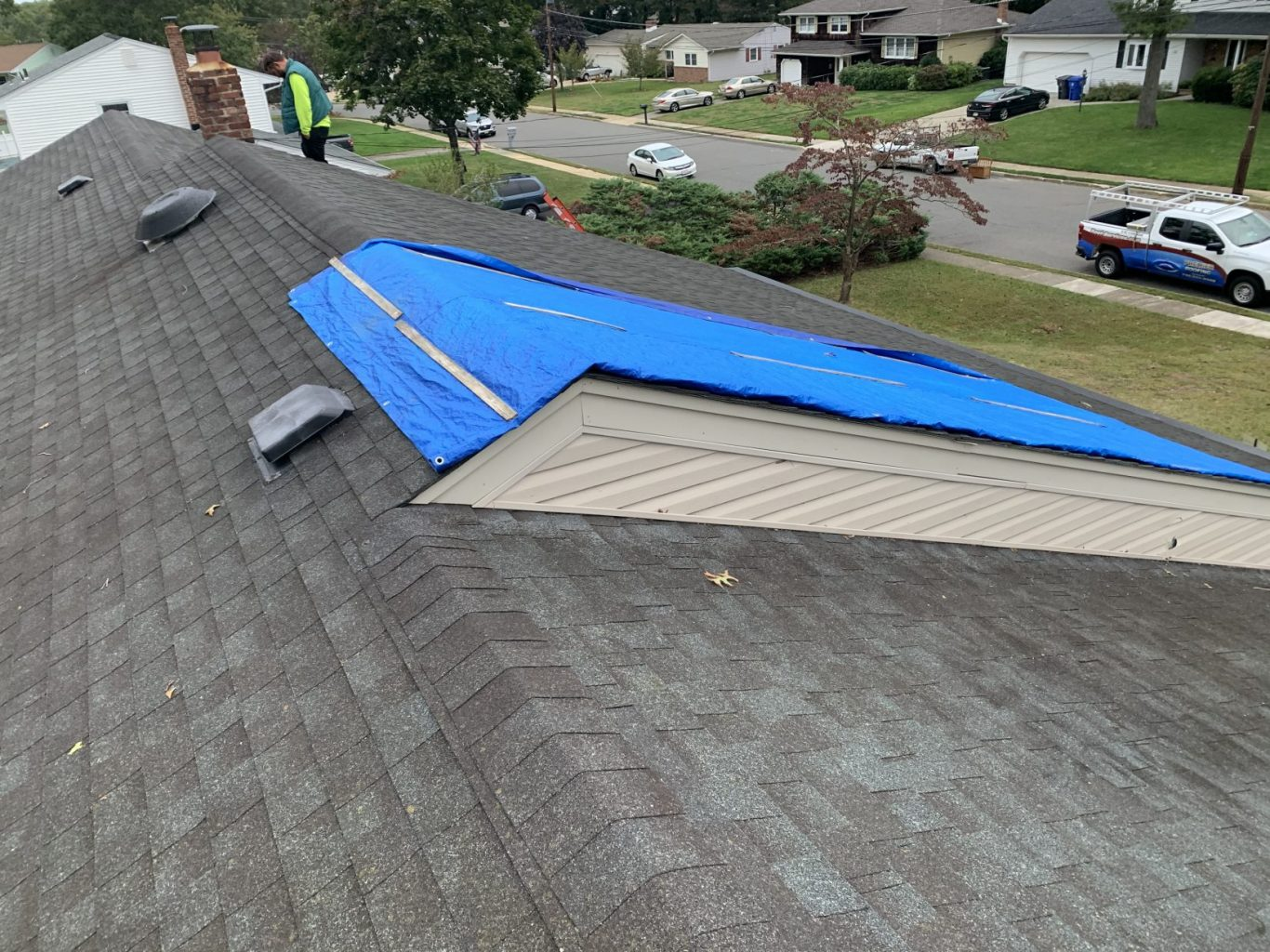storm damaged roof in Toms River, New Jersey